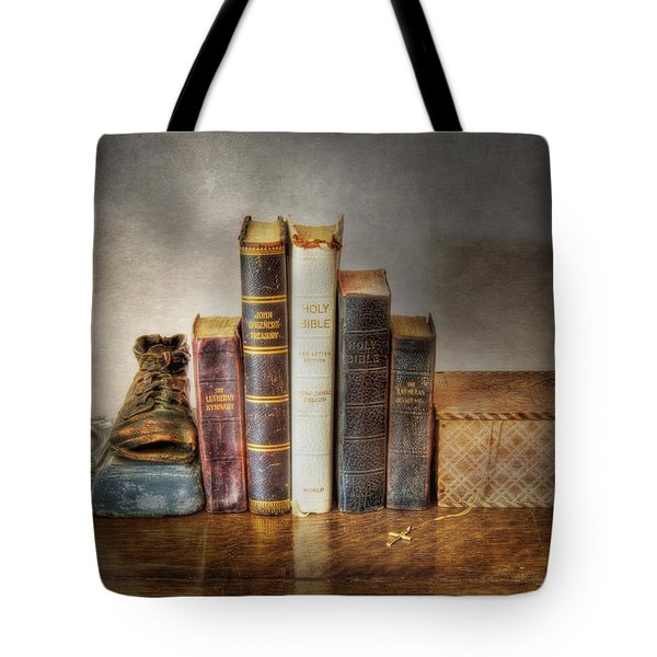 Bibles And Hymnbooks Tote Bag by David and Carol Kelly