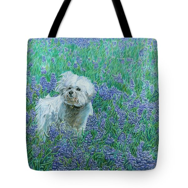 Bichon In The Bluebonnets Tote Bag