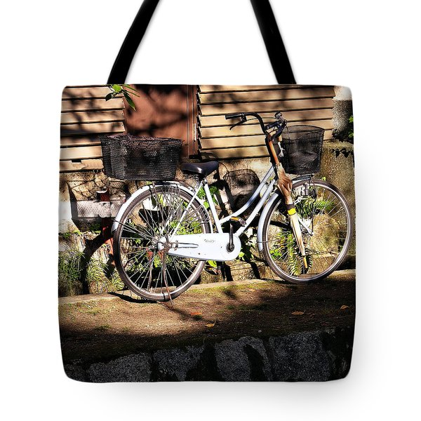 Tote Bag featuring the photograph Bicycle And Baskets Kyoto - Philosophers' Walk by Jacqueline M Lewis