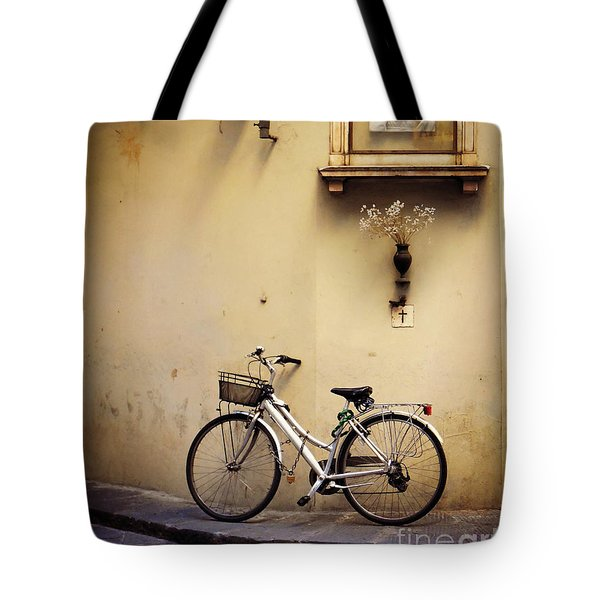 Bicycle And Madonna Tote Bag by Valerie Reeves