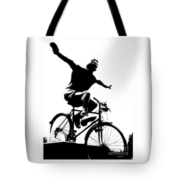 Bicycle - Black And White Pixels Tote Bag