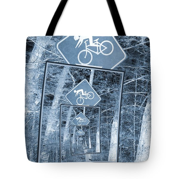Bicycle Caution Traffic Sign Tote Bag by Phil Perkins