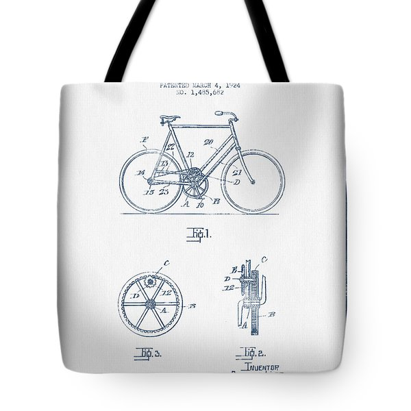 Bicycle Gear Patent Drawing From 1924 - Blue Ink Tote Bag