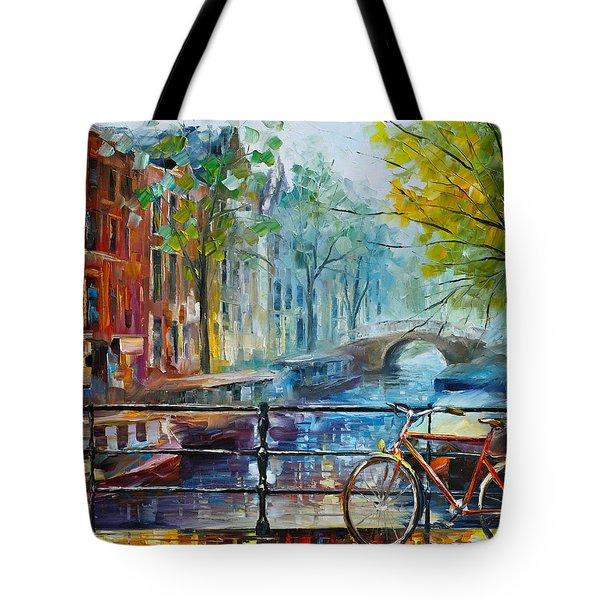 Bicycle In Amsterdam Tote Bag by Leonid Afremov