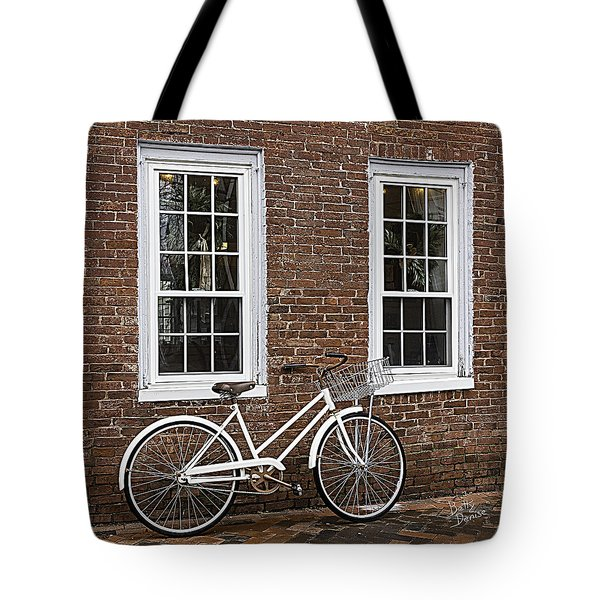 Tote Bag featuring the photograph Bicycle On Brick by Betty Denise