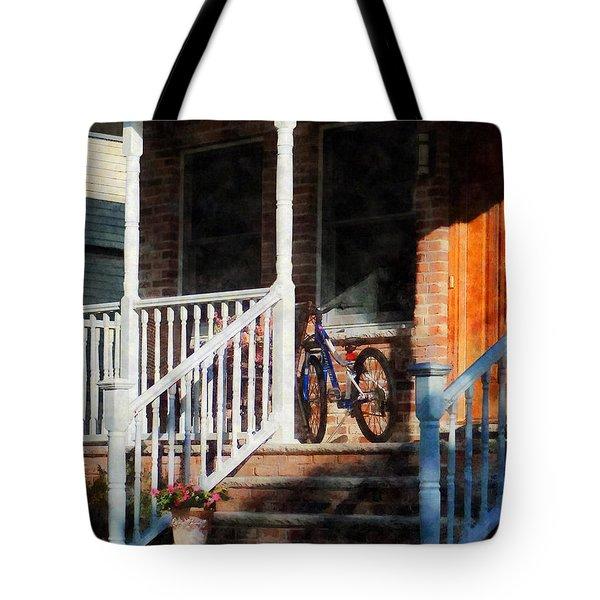 Bicycle On Porch Tote Bag by Susan Savad