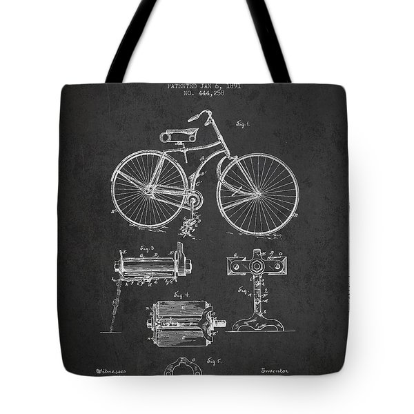 Bicycle Patent Drawing From 1891 Tote Bag