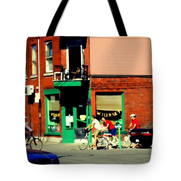 Bicycle Path At Wilenskys Diner Rue Fairmount And Clark Montreal Cafe Street Scene Carole Spandau Tote Bag by Carole Spandau