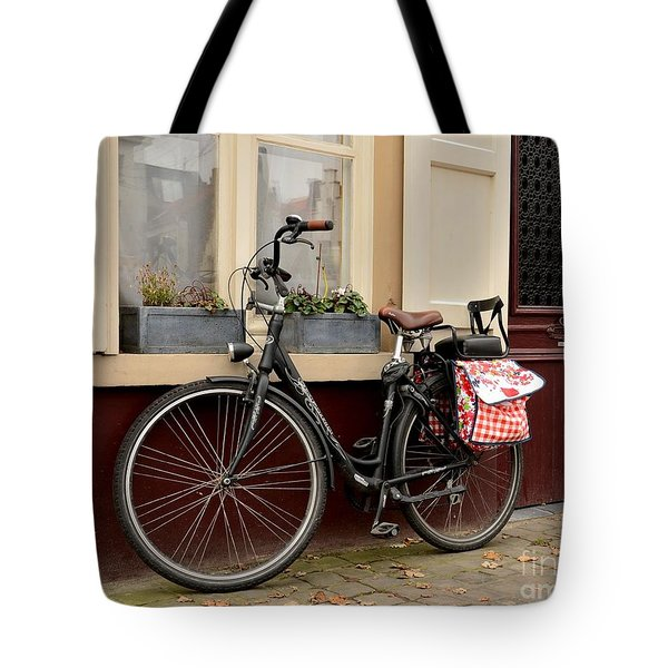 Bicycle With Baby Seat At Doorway Bruges Belgium Tote Bag