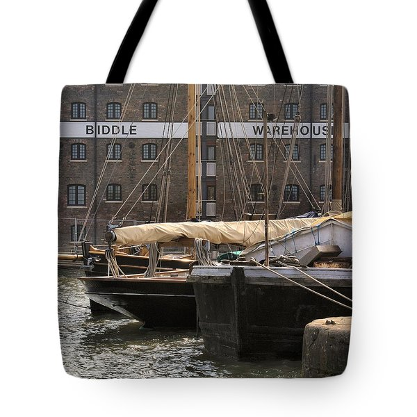 Tote Bag featuring the digital art Biddle Warehouse by Ron Harpham