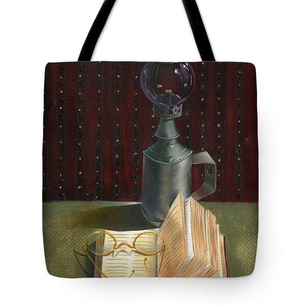 Tote Bag featuring the painting Bifocal Read by Doreta Y Boyd