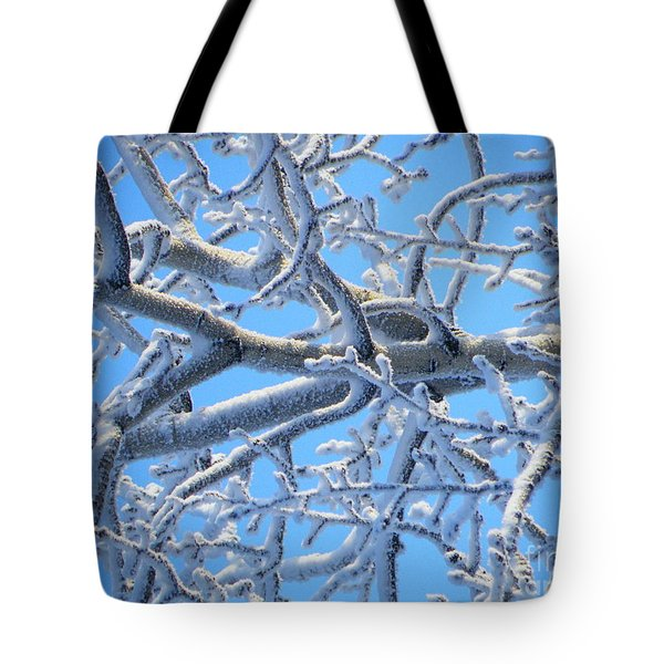 Bifurcations In White And Blue Tote Bag by Brian Boyle