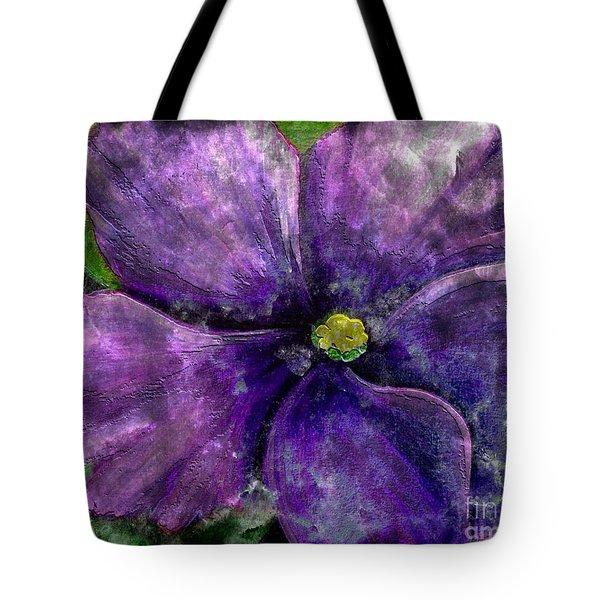 Big African Violet - Purple Flower - Steel Engraving Tote Bag by Barbara Griffin