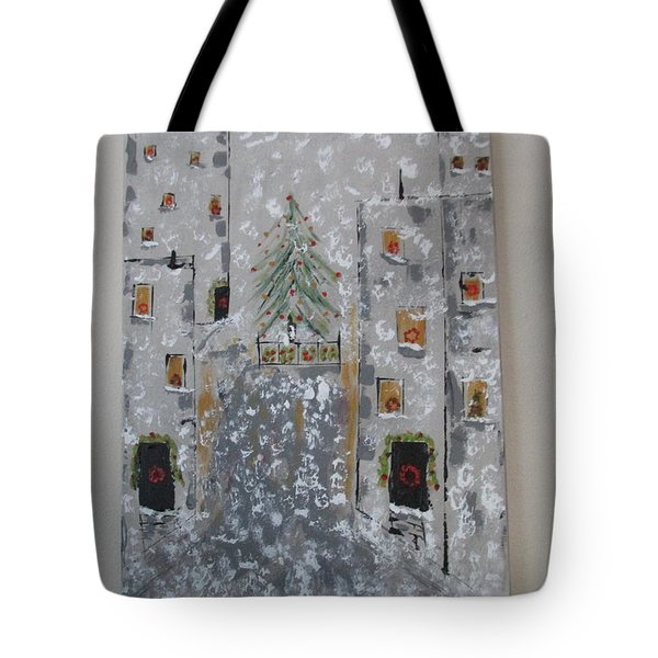 Tote Bag featuring the painting Big Apple Christmas by Sharyn Winters