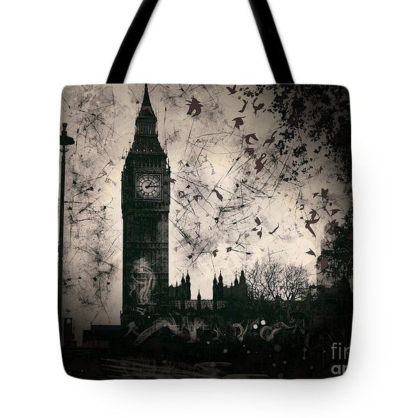 Big Ben Black And White Tote Bag