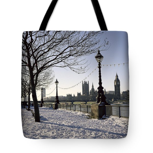 Big Ben Westminster Abbey And Houses Of Parliament In The Snow Tote Bag by Robert Hallmann
