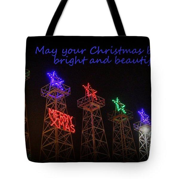 Big Bright Christmas Greeting  Tote Bag by Kathy  White