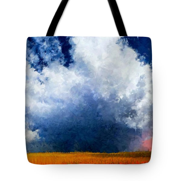 Tote Bag featuring the painting Big Cloud In A Field by Bruce Nutting