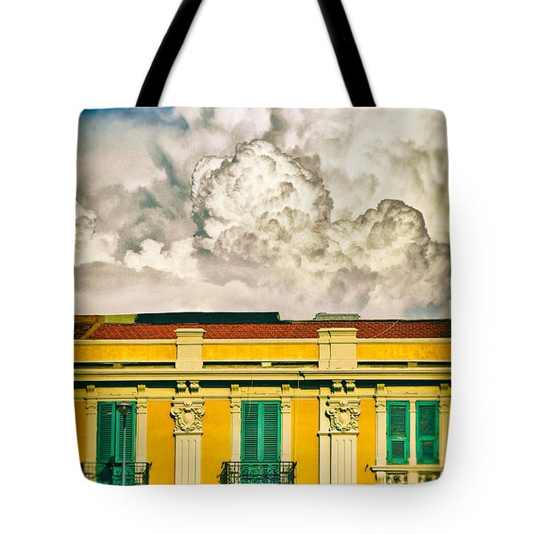 Tote Bag featuring the photograph Big Cloud Over City Building by Silvia Ganora
