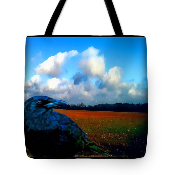 Big Daddy Crow Series Silent Watcher Tote Bag by Lesa Fine
