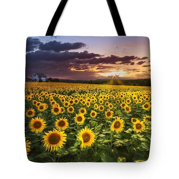 Big Field Of Sunflowers Tote Bag by Debra and Dave Vanderlaan