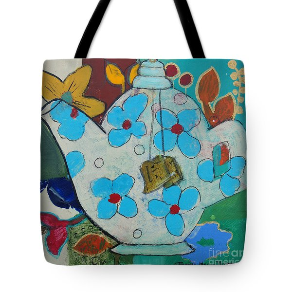 Big Floral Tea Pot Tote Bag