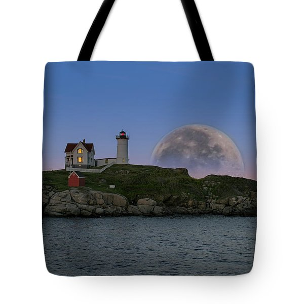 Big Moon Over Nubble Lighthouse Tote Bag