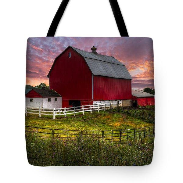 Big Red At Sunset Tote Bag by Debra and Dave Vanderlaan