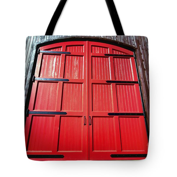 Big Red Doors Tote Bag by Cheryl Young