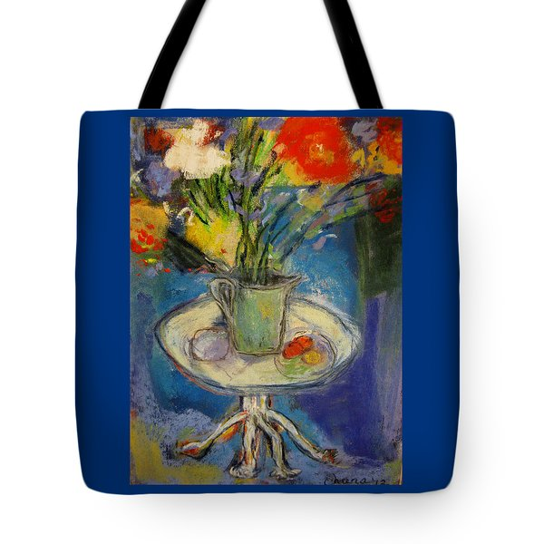 Big Red Flowers In A Pale Green Vase  Tote Bag by Tolere