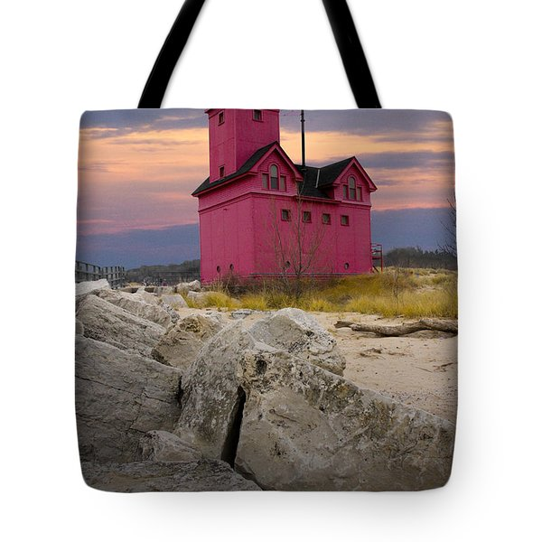 Big Red Lighthouse By Holland Michigan Tote Bag by Randall Nyhof