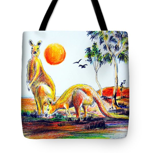 Tote Bag featuring the painting Big Reds Kangas by Roberto Gagliardi