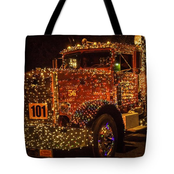 Big Rig With Christmas Lights Tote Bag
