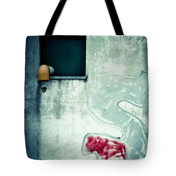 Big S With Window Pipe And Red Spray Tote Bag by Silvia Ganora