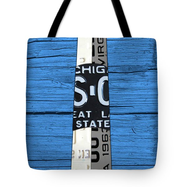 Big Sable Point Lighthouse Michigan Great Lakes License Plate Art Tote Bag by Design Turnpike