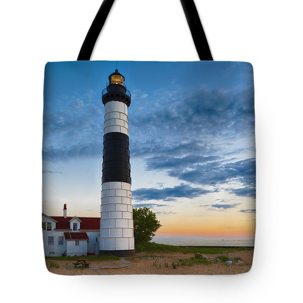 Big Sable Point Lighthouse Sunset Tote Bag by Sebastian Musial