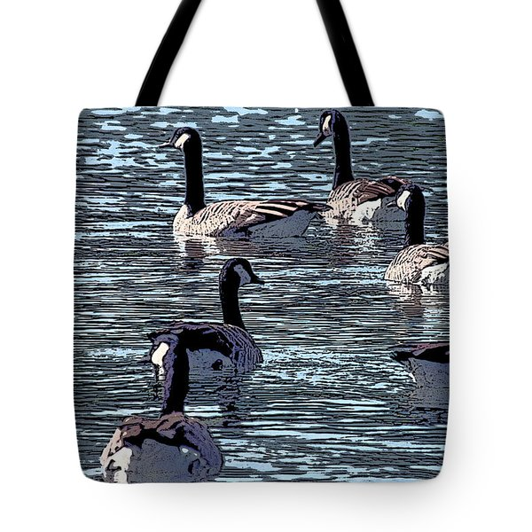 Tote Bag featuring the digital art Big Spring Goose Art I   by Lesa Fine