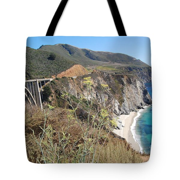Tote Bag featuring the photograph Big Sur Bixby Bridge And Beach by Debra Thompson