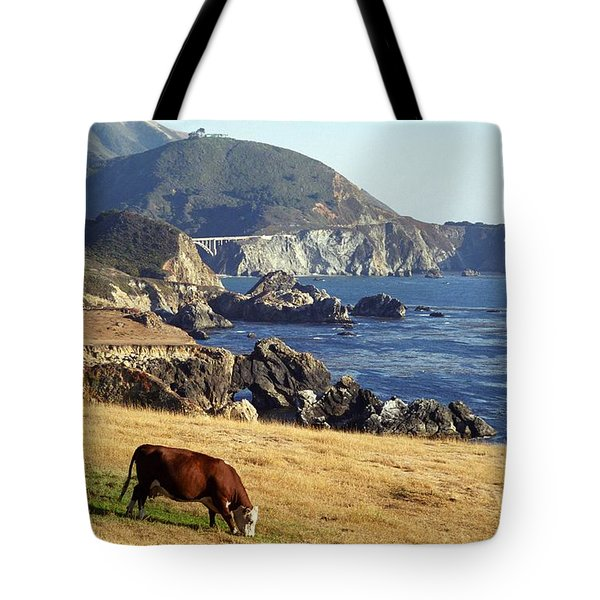Tote Bag featuring the photograph Big Sur Cow by James B Toy