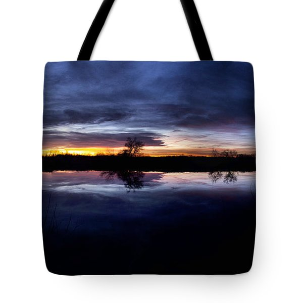Big Thompson Pond Sunrise Tote Bag by Steven Reed