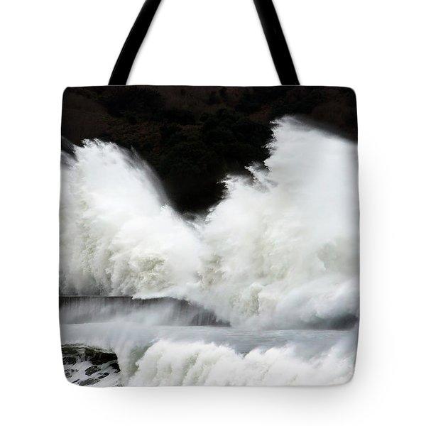 Big Waves Breaking On Breakwater Tote Bag