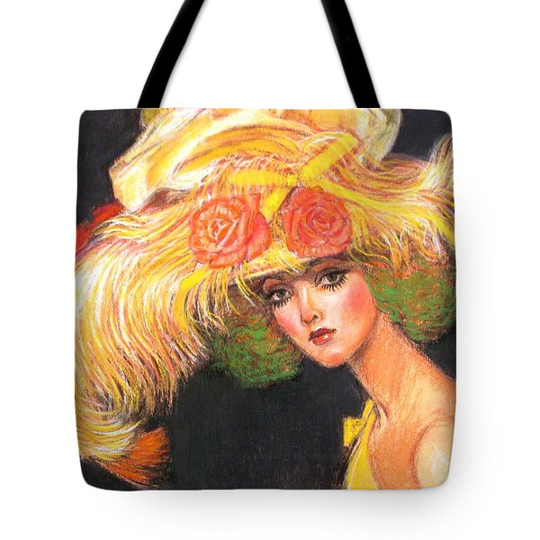 Tote Bag featuring the painting Big Yellow Fashion Hat by Sue Halstenberg