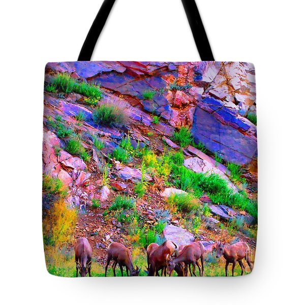 Tote Bag featuring the photograph Bighorn Grazing Convention by Ann Johndro-Collins