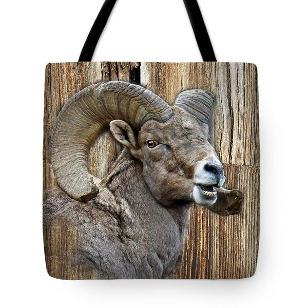Bighorn Sheep Barnwood Tote Bag by Steve McKinzie