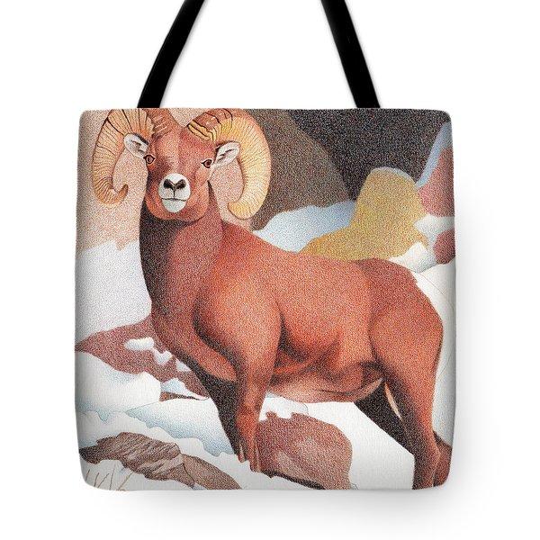Bighorn Sheep Winter Tote Bag