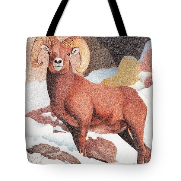 Bighorn Sheep Winter Tote Bag