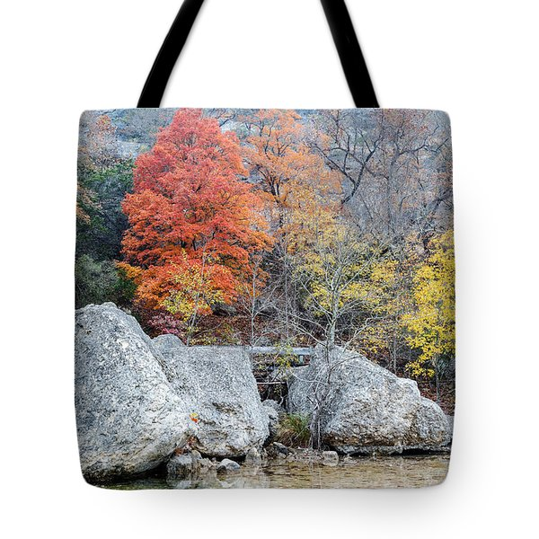 Bigtooth Maple And Rocks Fall Foliage Lost Maples Texas Hill Country Tote Bag by Silvio Ligutti