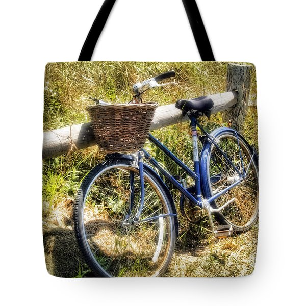 Tote Bag featuring the photograph Bike At Nantucket Beach by Tammy Wetzel