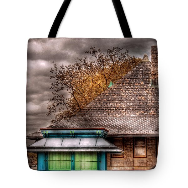 Bike - At The Train Station Tote Bag by Mike Savad