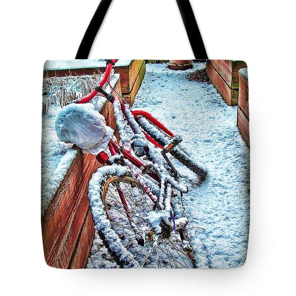 Bike In Winter Tote Bag by Joan  Minchak